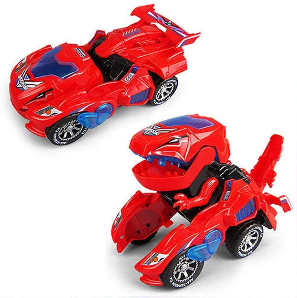 Carrinho Transformers Dinossauro Tiranossauro Bate e Volta com Sons Luz - Vermelho
