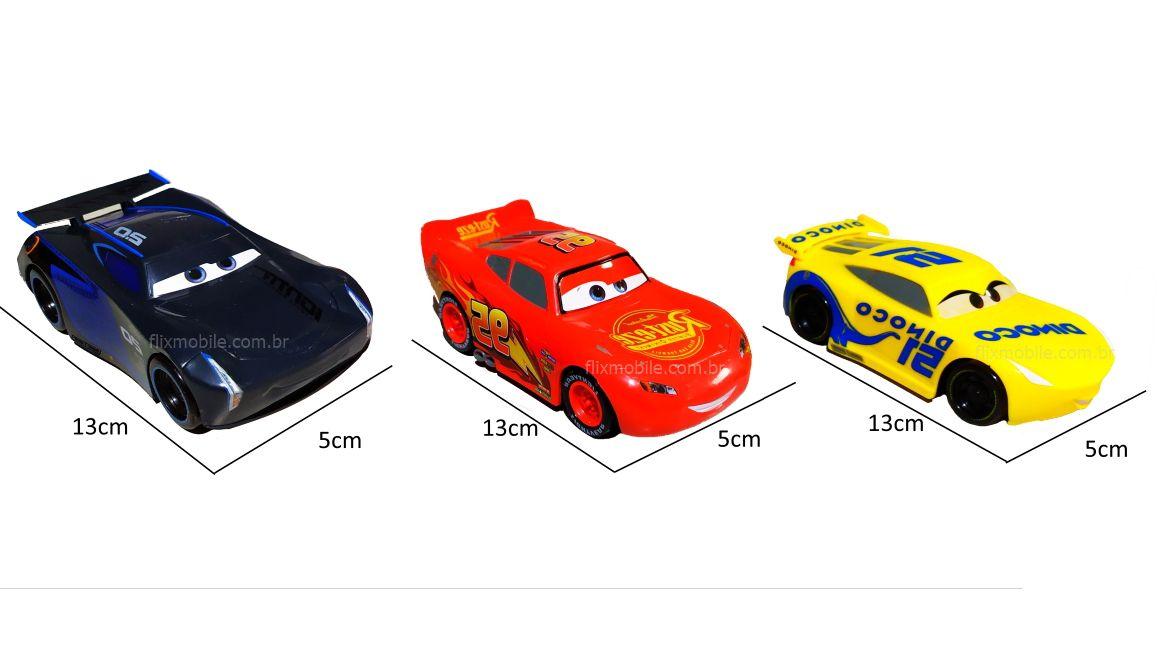 Carrinhos Disney Carros 3 Pixar Relâmpago Mcqueen Kit Com 3
