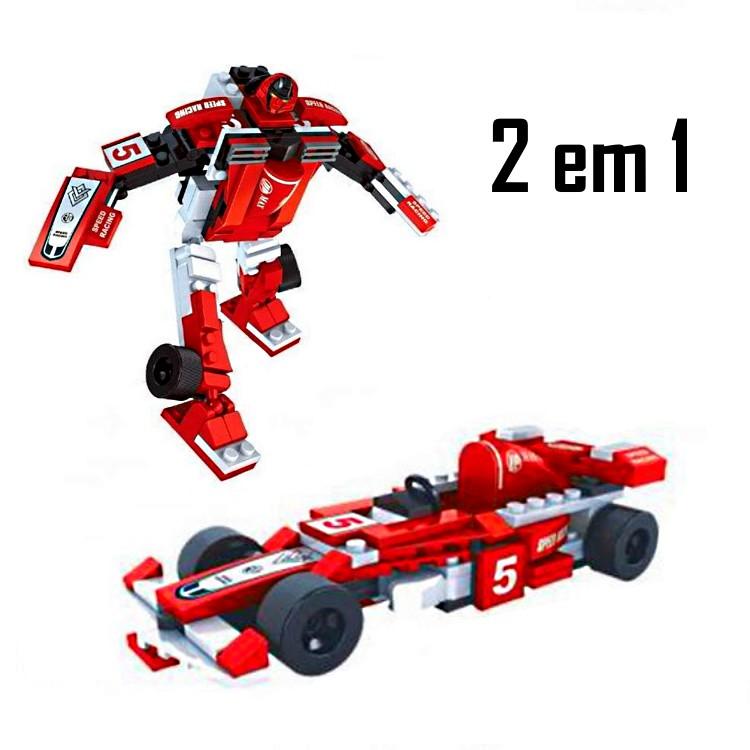Carro de Fórmula 1 e Robô Titan Heroes  em Blocos de Montar 132 peças 2 Em 1 Educativo