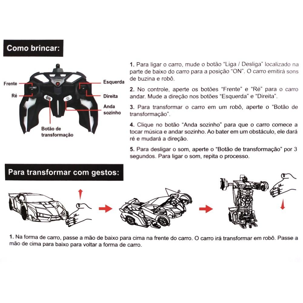 Carro Lamborguini Transforma em Robô com Controle Remoto ou Gestos Recarregável Dourado