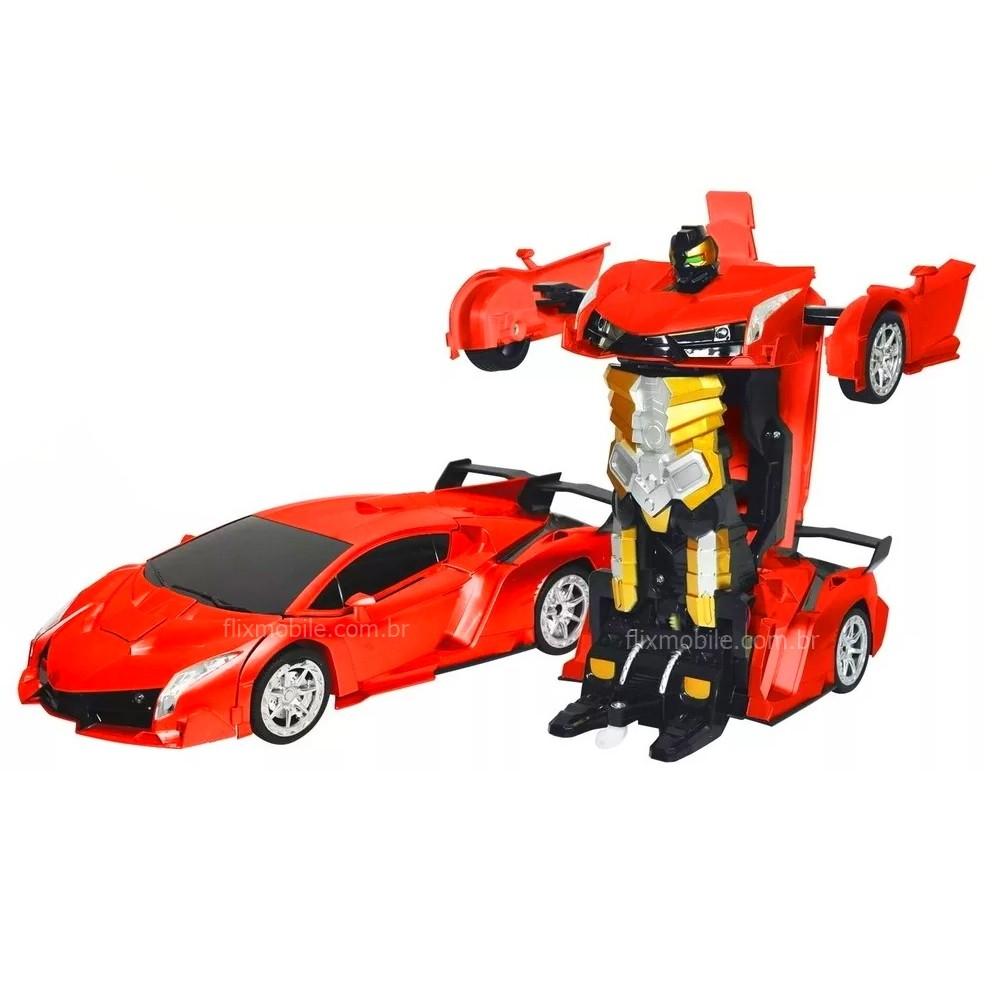 Carro Lamborguini Transforma em Robô com Controle Remoto ou Gestos Recarregável Vermelho
