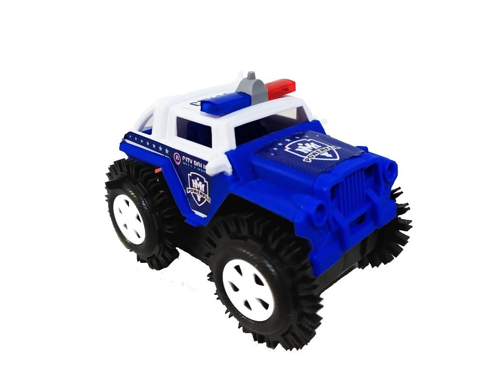 Carro Maluco Jeep Carrinho Cambalhota Bate E Volta Jipe >>Policia BRANCO com azul <<