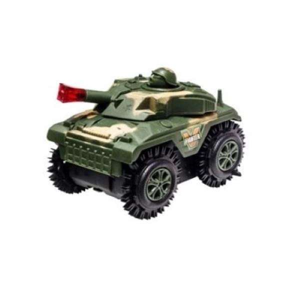 Carro Maluco Jeep Carrinho Cambalhota Bate E Volta Jipe >> TANQUE Exército Verde<< FU1049