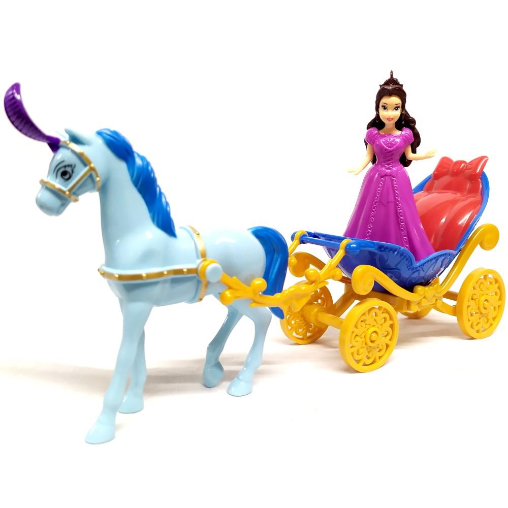 Castelo Encantado com Luz Som Princesa Carruagem Animais do Bosque e Balanço