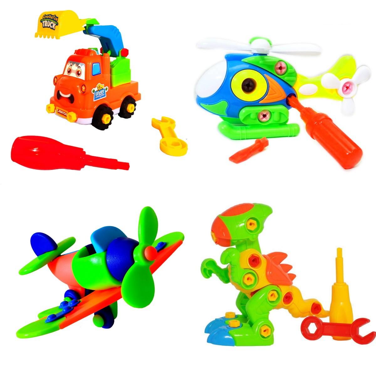 Coleção Brinquedos Educativos de Montar Avião Dino Rex Helicóptero e Caminhão