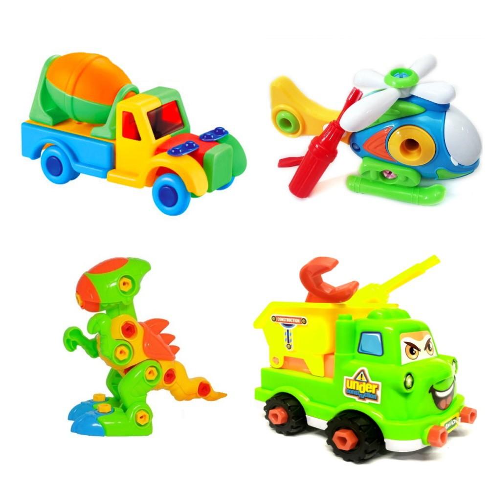 Coleção Brinquedos Educativos de Montar Dinossauro Rex Helicóptero e Caminhões