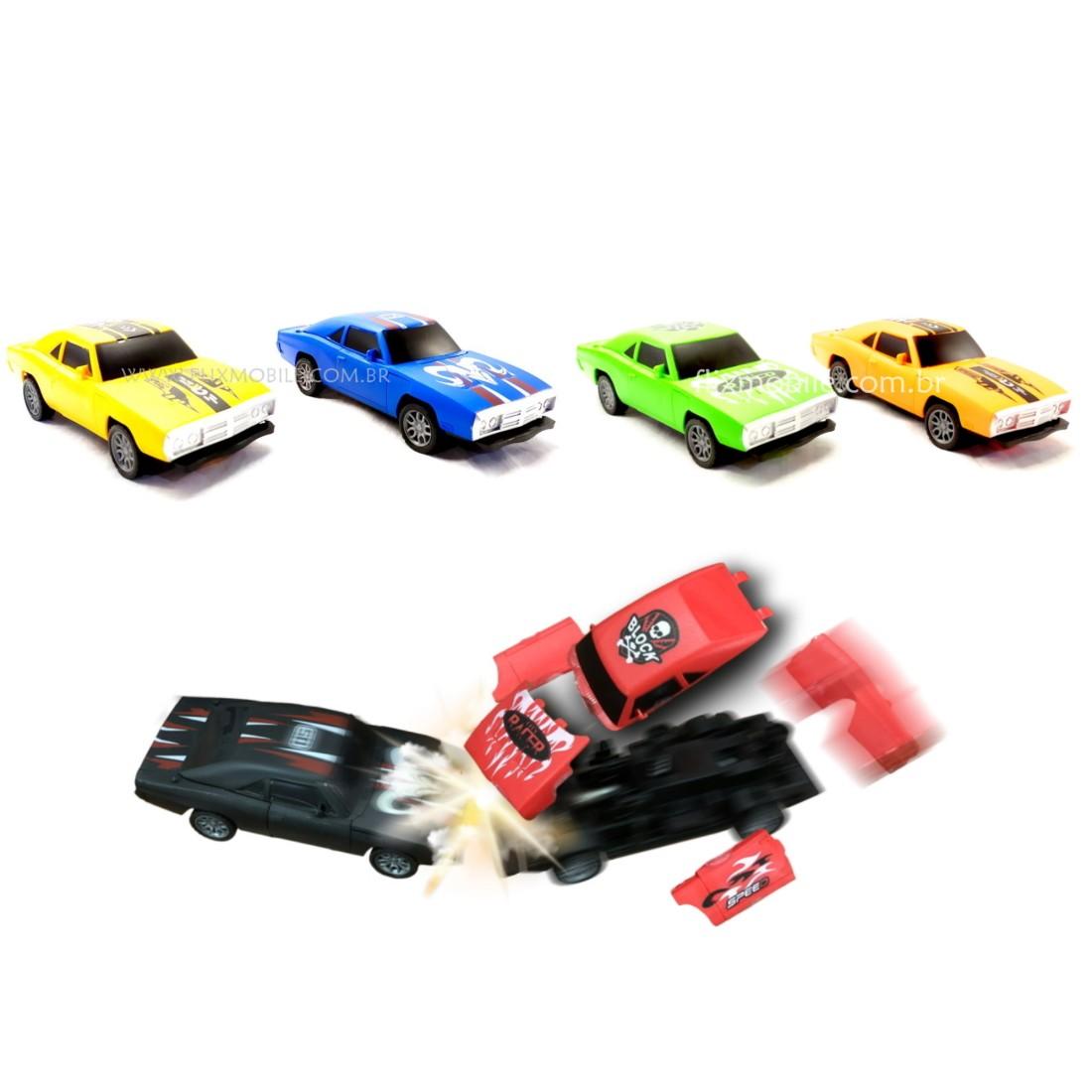 Coleção Carrinhos Bate e Quebra Clássico de Fricção com 6 Carros