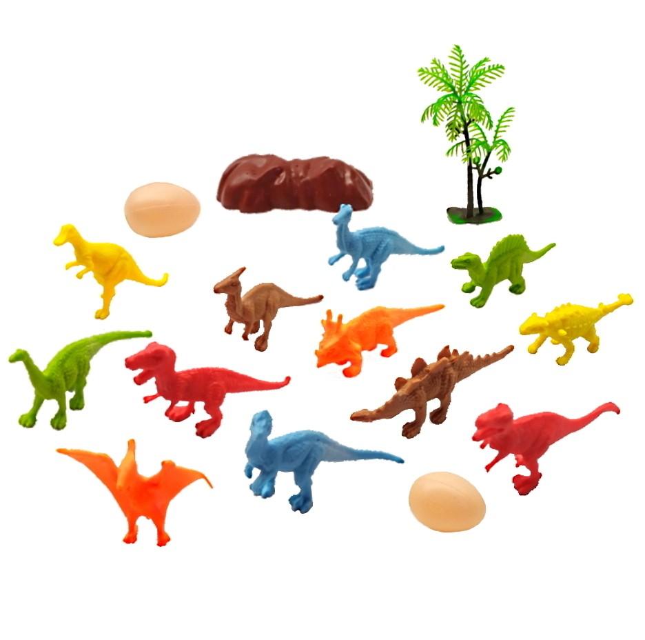 Coleção com 12 Dinossauros Jurássicos com Ovos Árvore Rocha