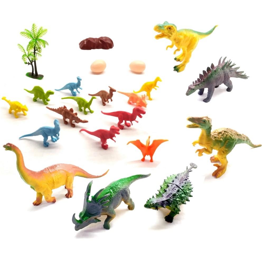 Coleção com 18 Dinossauros Jurássicos com Ovos Árvore e Rocha