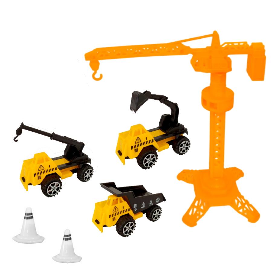 Coleção com 3 Caminhões de Construção Roda Livre e Guindaste