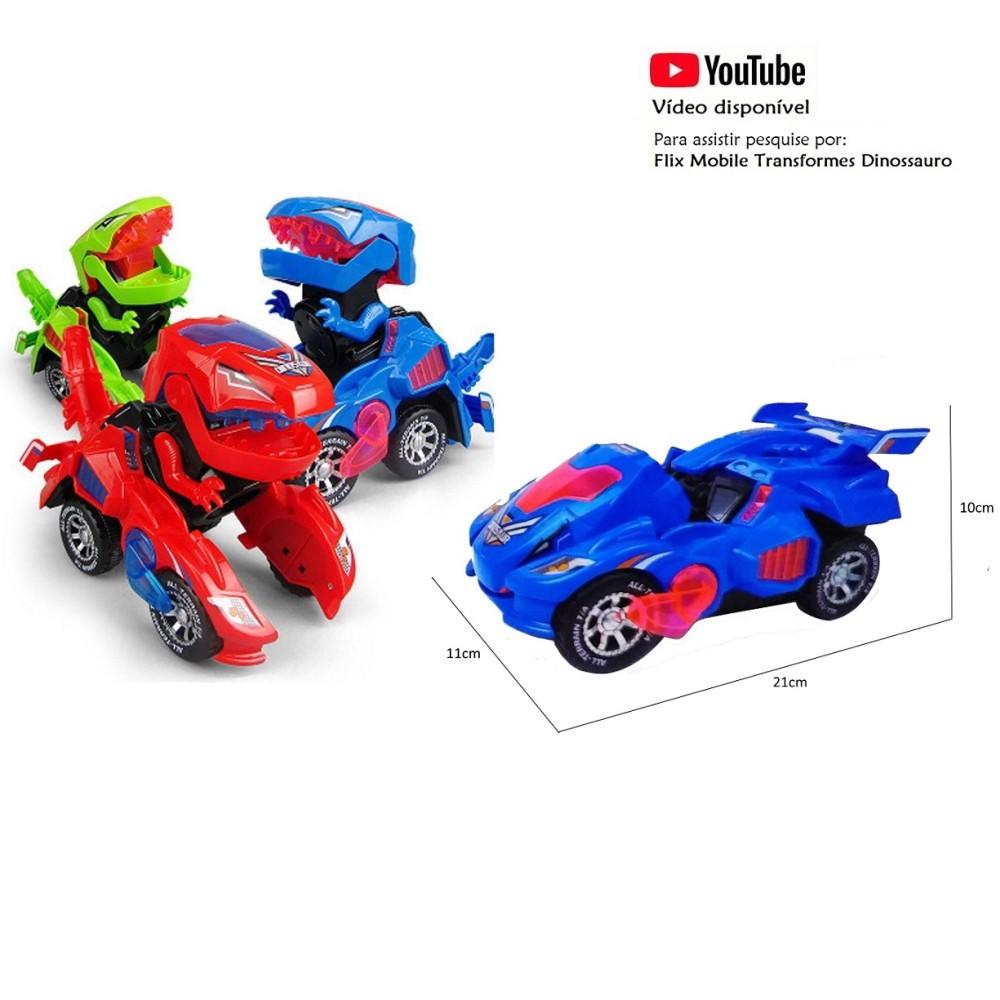 Coleção com 3 Carrinhos Transformers  Dinossauros Azul Vermelho e Verde