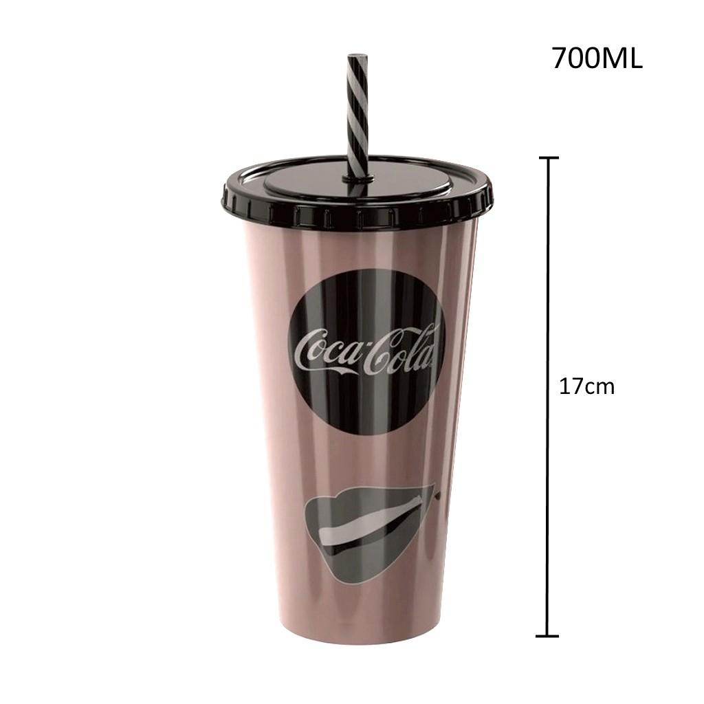 Coleção com 3 Copos da Coca Cola 700ml com Canudo Premium Plasútil