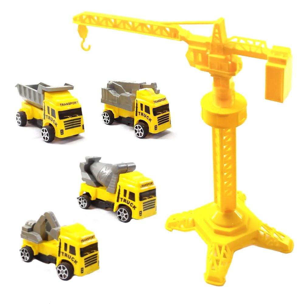 Coleção com 4 Caminhões de Construção Roda Livre e Guindaste Amarelo