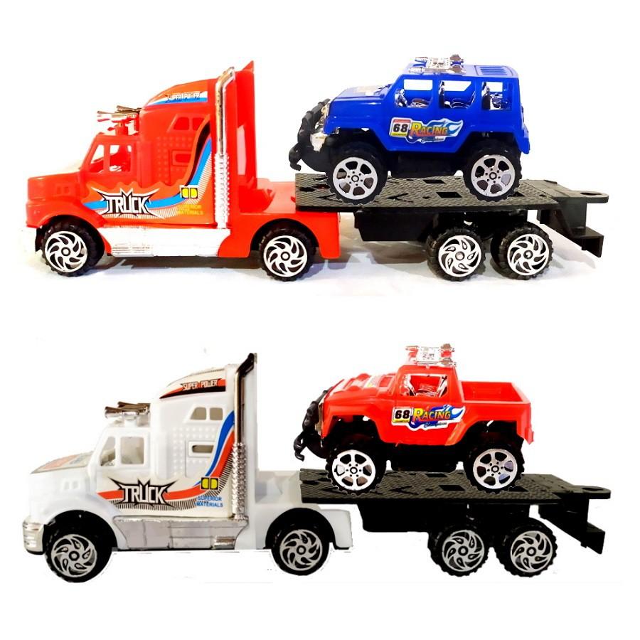 Coleção com 4 Veículos Caminhão Vermelho e Branco com Carros