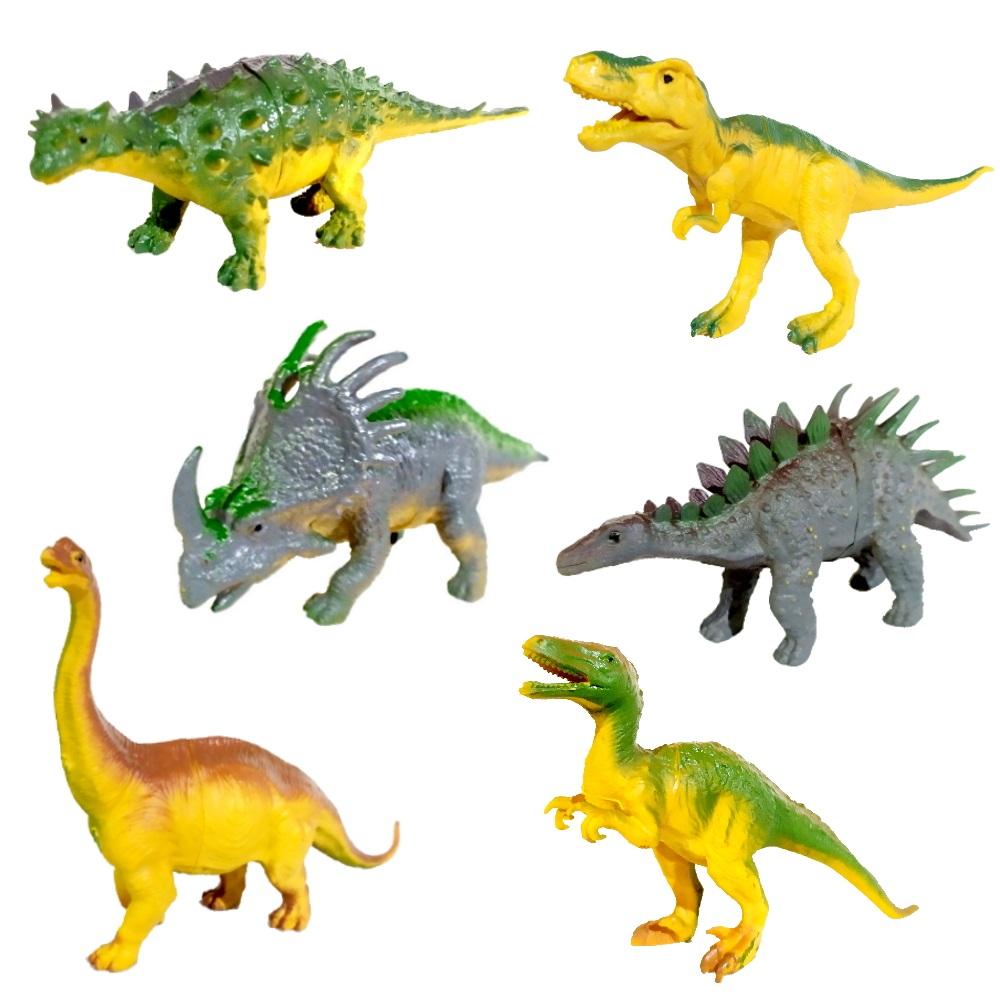 Coleção com 6 Dinossauros Jurássicos Realistas Tiranossauro Rex