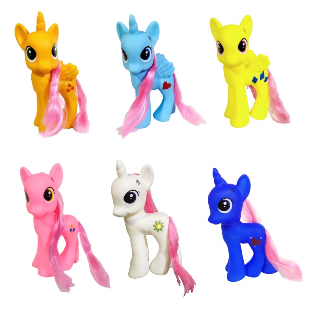 Coleção com 6 Pequenos Pôneis Coloridos Brinquedo para Meninas
