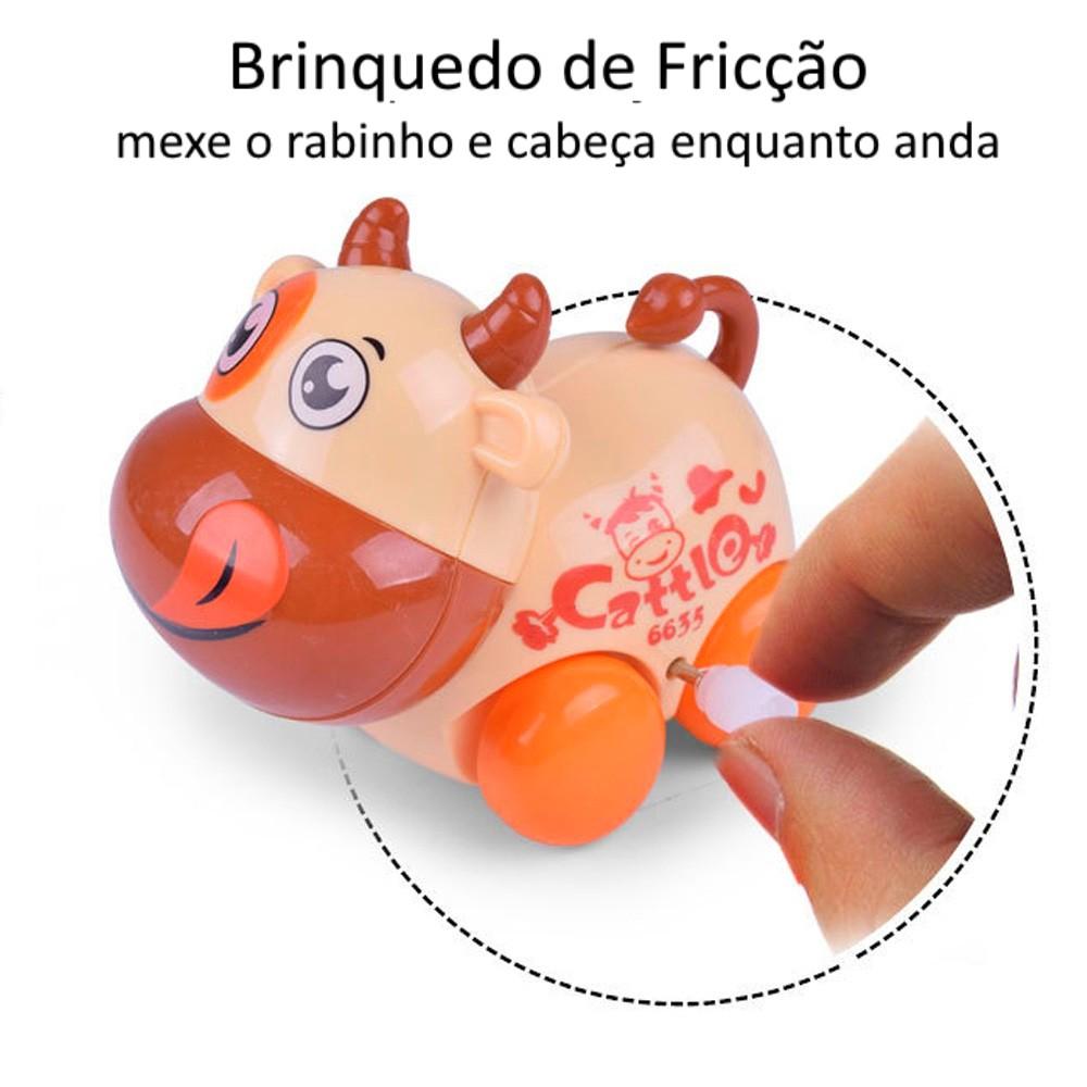 Coleção Completa Carrinho Turminha Animal com 4 Bichinhos de Fricção Vaquinha