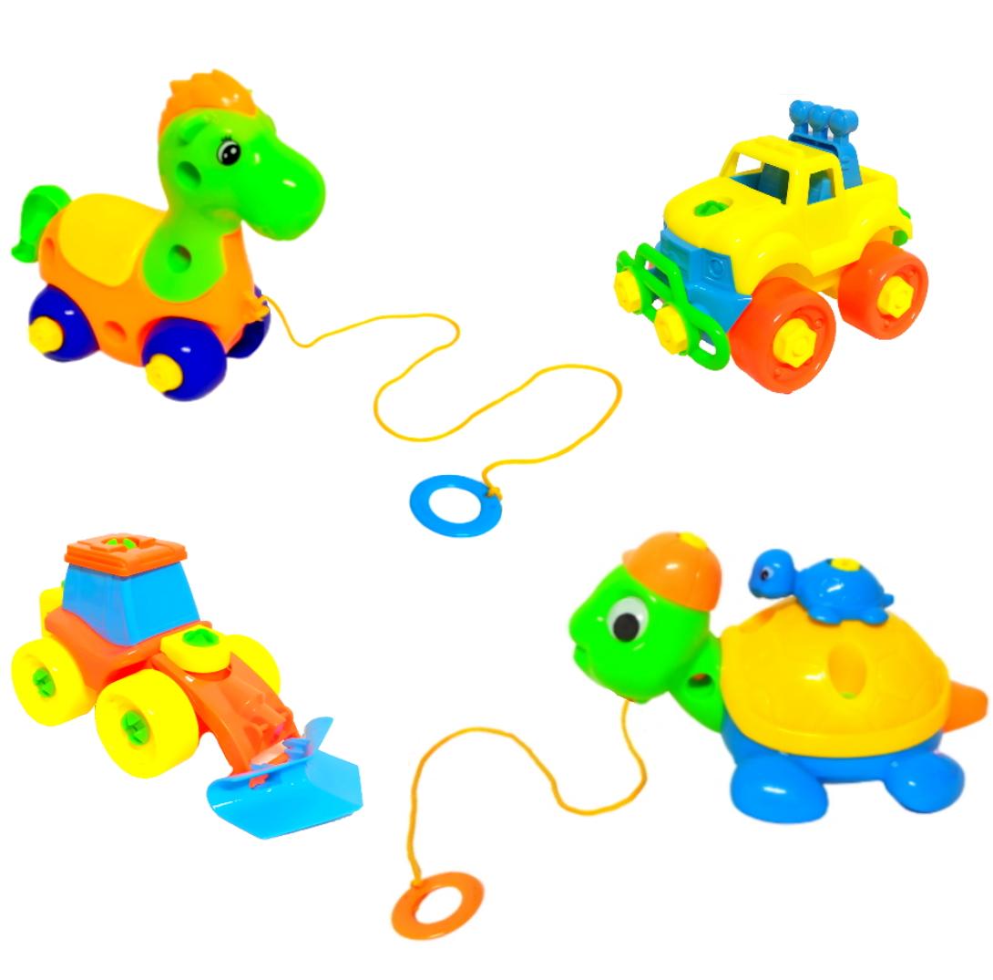 Coleção de Brinquedos de Montar Carro Trator Cavalo e Tartaruga