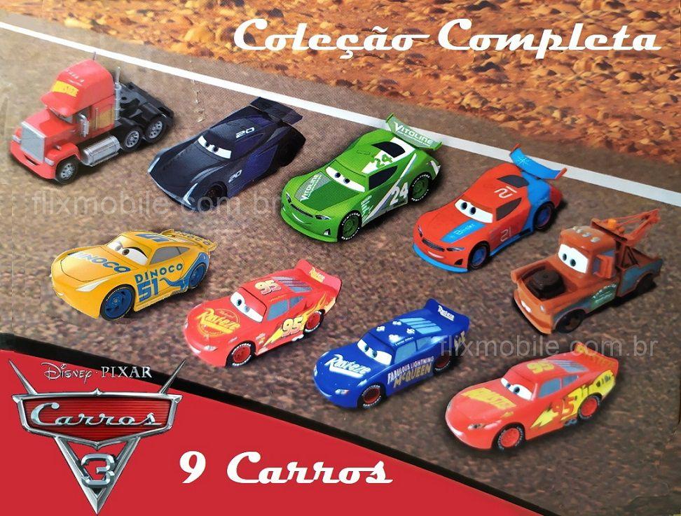 Coleção Disney Carros 13cm Roda Livre Relâmpago Macqueen e Sua Turma - Kit com 9