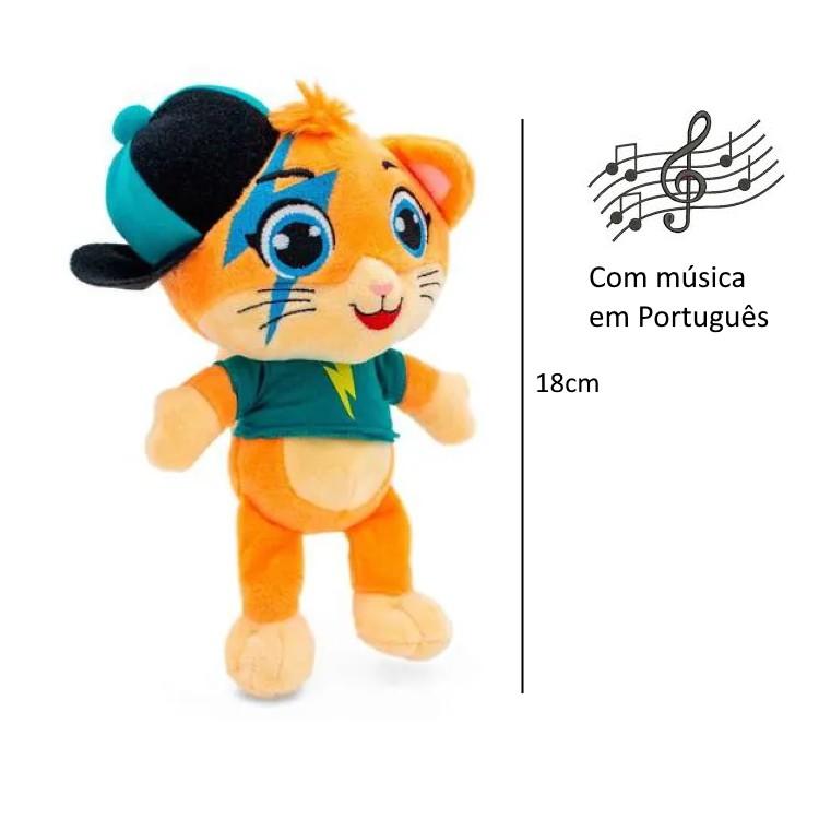 Coleção Pelúcia 18cm Musical 44 Gatos com Milady, Lampo, Pilou e Almôndega Música em Português