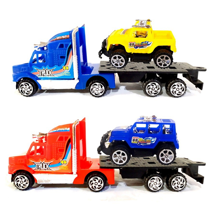 Coleção Transportes com 2 Caminhões Guincho Vermelho e Azul Fricção e 2 Carros
