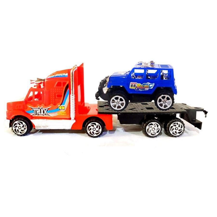 Coleção Transportes com 2 Caminhões Guincho Vermelho e Branco Fricção e 2 Carros