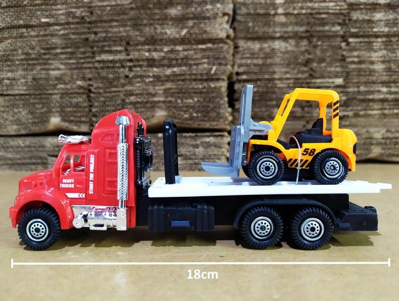 Coleção Transportes com 3 Caminhões Guicho 1 Moto 1 Quadriciclo e 1 Empilhadeira
