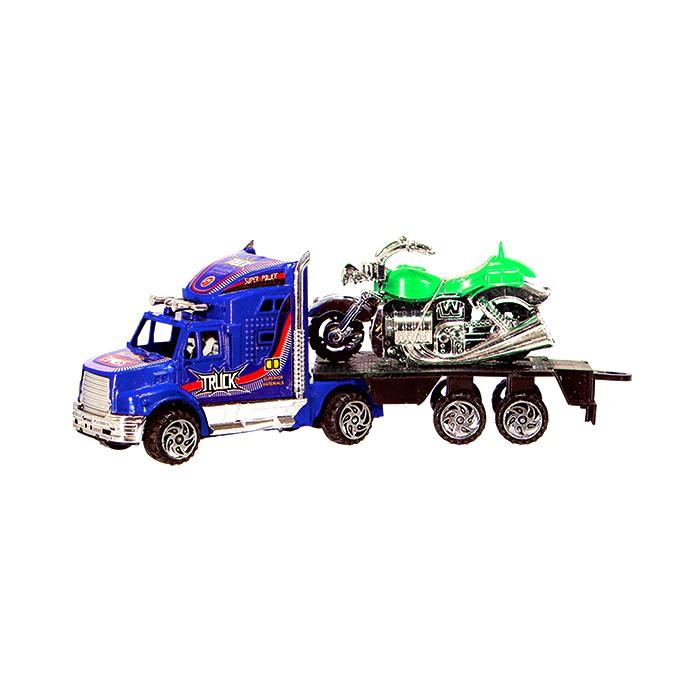 Coleção Transportes Pesados com 3 Caminhões Fricção e 3 Motos Custom