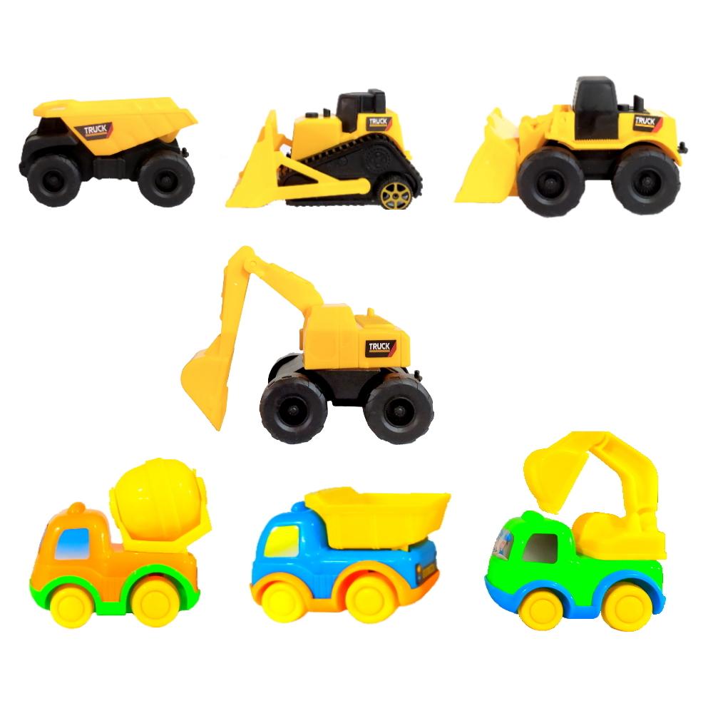 Conjunto de Tratores e Caminhões Infantil Fricção Coleção com 7 Carrinhos