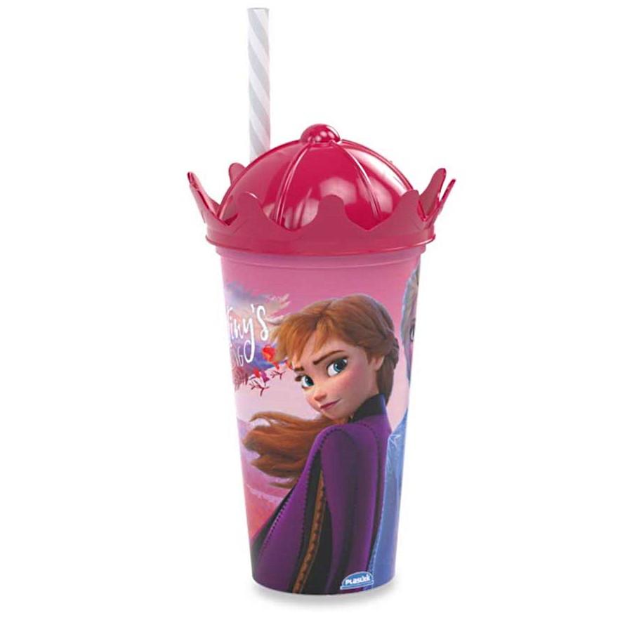 Copo com canudo e Coroa Infantil Frozen  Ana e Elsa Alta qualidade 500ML