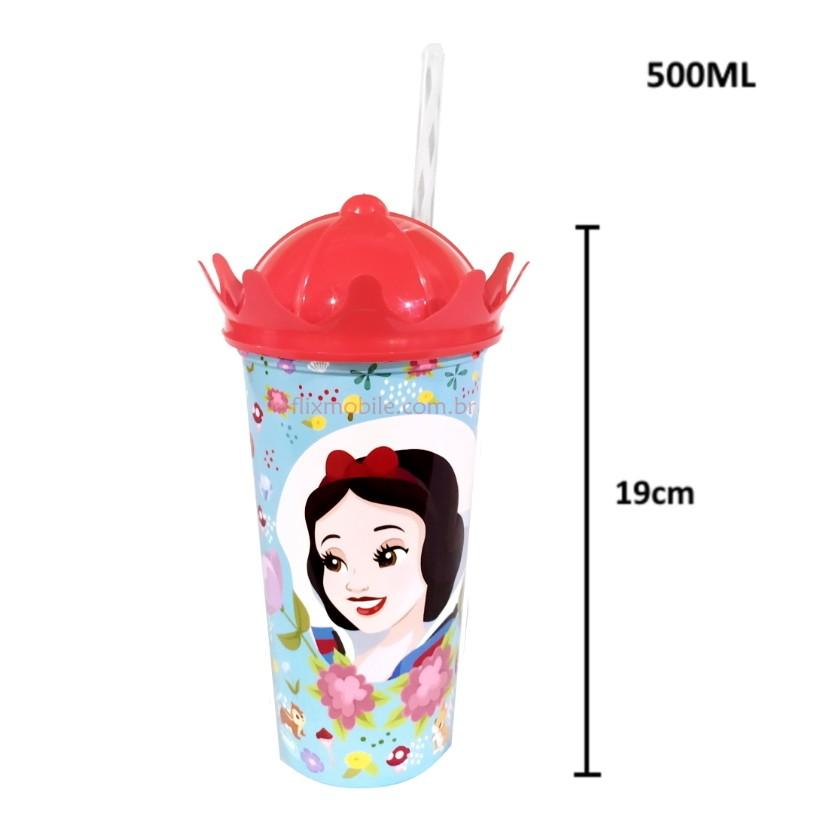 Copo com Canudo Shake Princesa Branca de Neve 500ml
