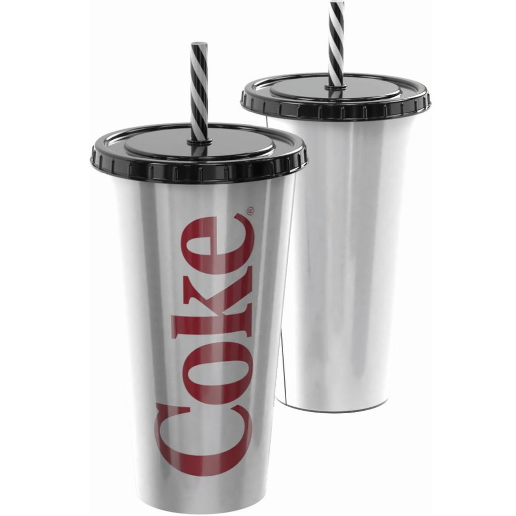 Copo de Refrigerante da Coca Cola 700ml com Canudo COKE Prata