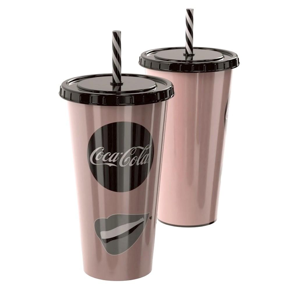 Copo de Refrigerante da Coca Cola 700ml com Canudo Rosê Gold
