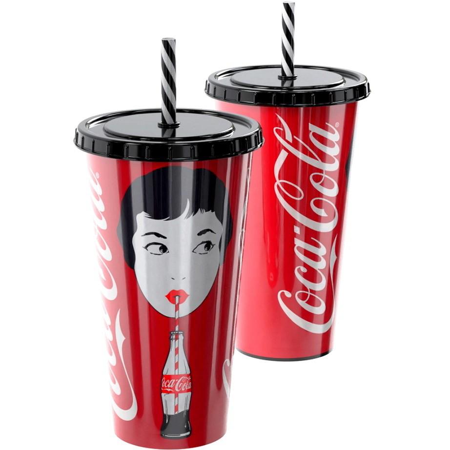 Copo de Refrigerante da Coca Cola 700ml Vermelho com Canudo Modelo Retro