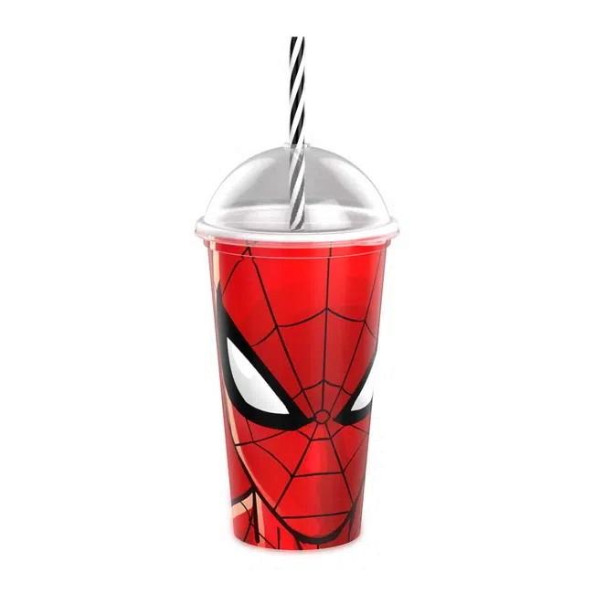 Copo do Homem Aranha e Batman Infantil Premium com Canudo e Tampa 500ML Plasútil