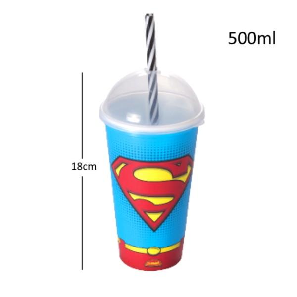 Copo do Homem Aranha e Super Homem Infantil Premium com Canudo e Tampa 500ML Plasútil