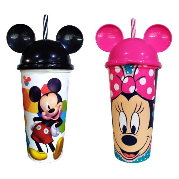Copo Infantil Minnie e Mickey Mouse com Orelhas Tampa e Canudo Premium Plasútil