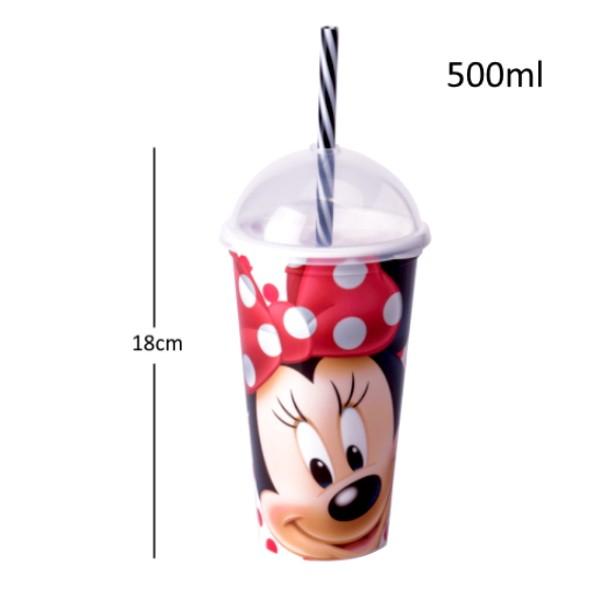 Copo Shake com Canudo Infantil da Minnie de 500ML Premium