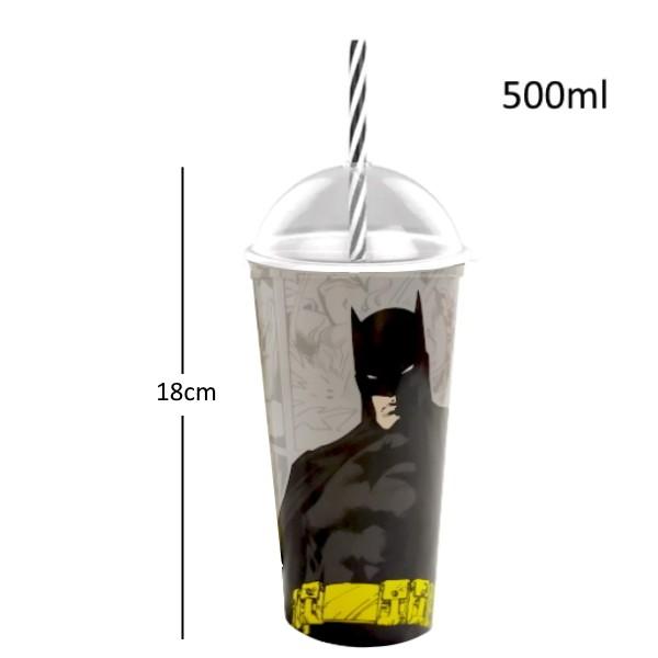 Copo Shake com Canudo Infantil do Batman DC Comics 500ML