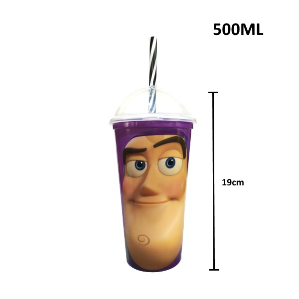 Copo Shake com Canudo Infantil do Buzz Lightyear Toy Story Disney 500ML