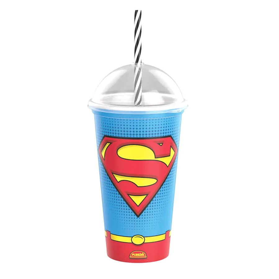 Copo Shake com Canudo Infantil do Superman DC Comics 500ML