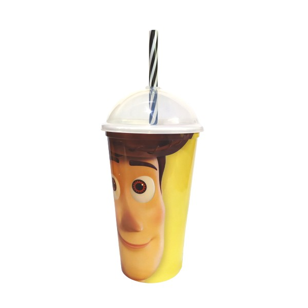 Copo Shake com Canudo Infantil do Woody Toy Story Disney 500ML