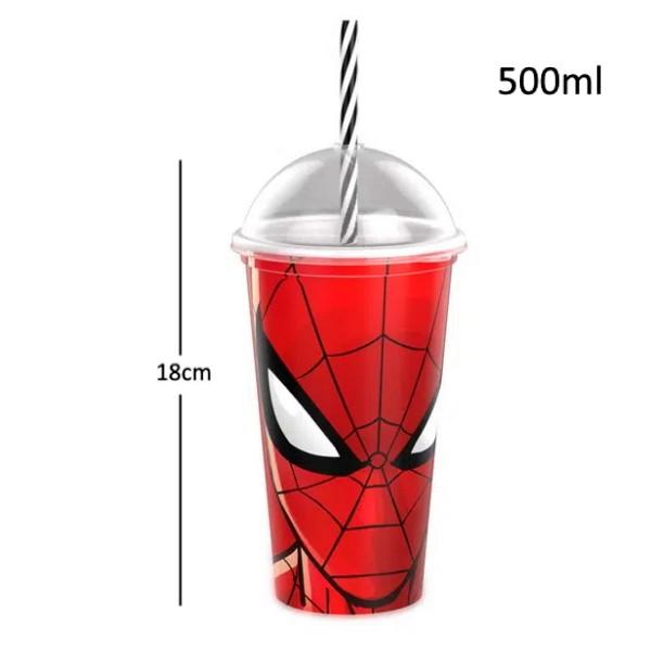 Copo Shake com Canudo Infantil Spider Man e Batman Comics e Marvel 500ML