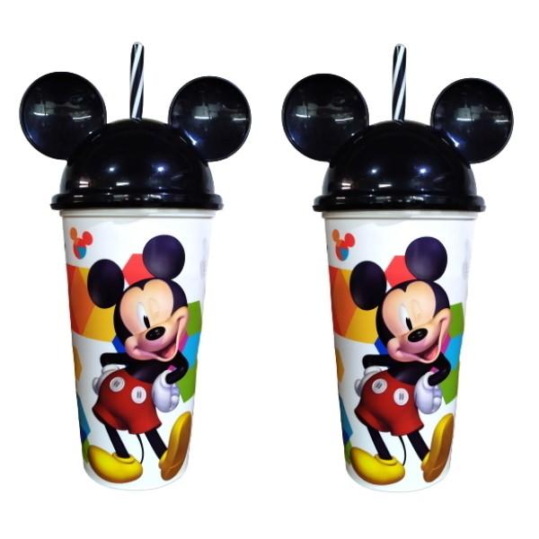 Copo Shake Infantil com Canudo e Orelhas do Mickey 500ML - Kit com 2