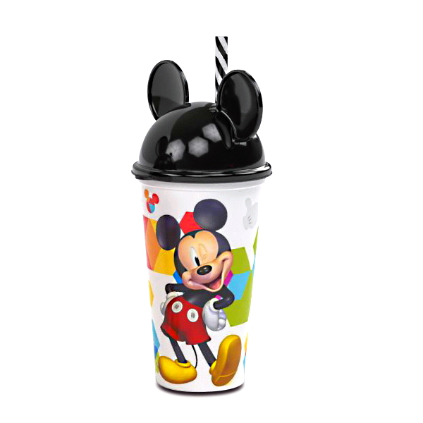 Copo Shake Infantil com Canudo e Orelhas do Mickey Mouse 500ML