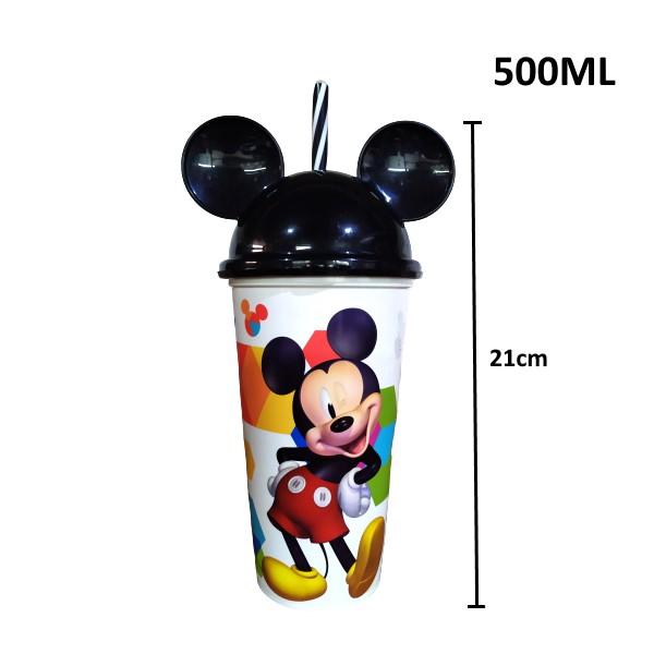 Copo Shake Infantil com Canudo e Orelhas do Mickey Mouse 500ML