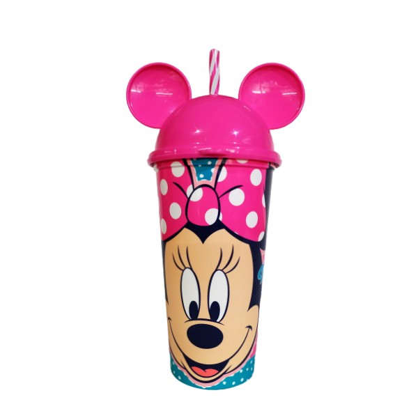 Copo Shake Infantil com Canudo e Orelhas do Minnie Mouse 500ML