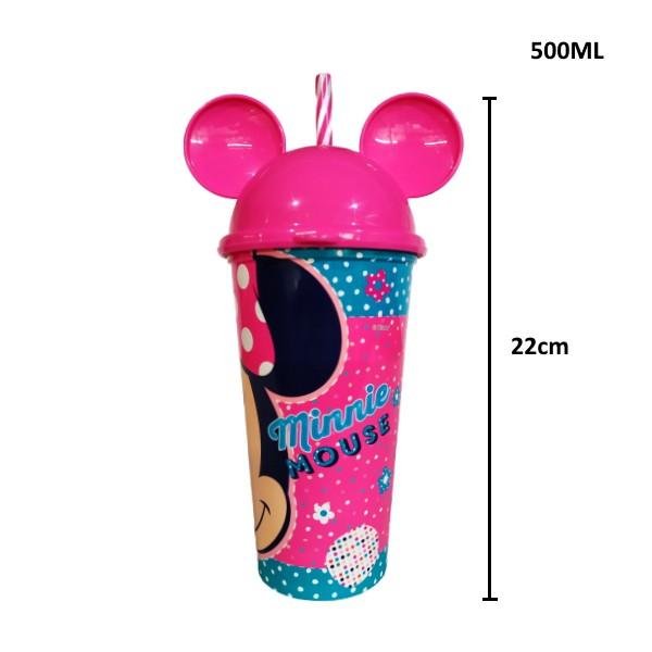 Copo Shake Infantil com Canudo e Orelhas do Minnie Mouse 500ML