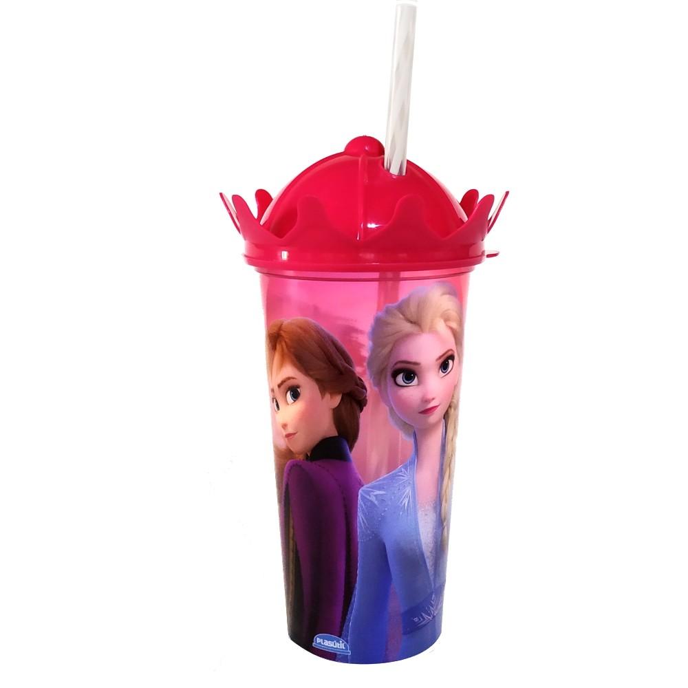 Copo Shake Infantil com Canudo Princesas Frozen e Branca de Neve para Meninas 500ml