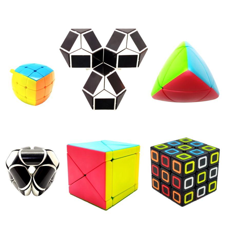 Cubo Mágico Kit com 6 Cubos Variados Jogo Desafio de Raciocínio Lógico